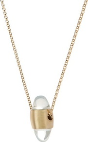 Ted Baker Dommer Dome Glass Necklace - predominant colour: gold; occasions: evening, work, occasion, holiday; style: pendant; length: long; size: standard; material: chain/metal; finish: plain; embellishment: crystals; secondary colour: clear