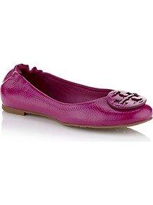 Reva Patent Flat - predominant colour: hot pink; occasions: casual, holiday; material: leather; heel height: flat; embellishment: snaffles; toe: round toe; style: ballerinas / pumps; finish: patent; pattern: plain
