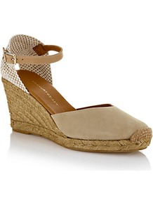 Monty Suede Espadrille Beige - secondary colour: ivory; predominant colour: stone; occasions: casual, holiday; material: suede; heel height: mid; ankle detail: ankle strap; heel: wedge; toe: round toe; style: courts; finish: plain; pattern: plain
