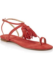 Tasselites Leather Sandal Red - predominant colour: true red; occasions: casual, holiday; material: leather; heel height: flat; embellishment: tassels; ankle detail: ankle strap; heel: block; toe: toe thongs; style: flip flops / toe post; finish: plain; pattern: plain