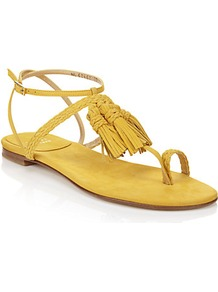 Tasselites Leather Sandal Yellow - predominant colour: yellow; occasions: casual, holiday; material: leather; heel height: flat; embellishment: tassels; ankle detail: ankle strap; heel: block; toe: toe thongs; style: flip flops / toe post; finish: plain; pattern: plain