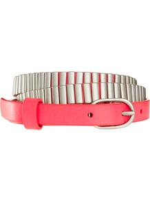 Metal Detail Belt - secondary colour: silver; predominant colour: black; occasions: casual, evening; style: classic; size: skinny; worn on: hips; material: leather; pattern: plain; finish: plain; embellishment: chain/metal