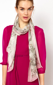 Safaria Long Scarf - predominant colour: ivory; secondary colour: blush; occasions: casual, evening, work; type of pattern: light; style: regular; size: standard; material: silk; pattern: patterned/print