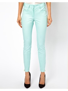 Coloured Skinny Jean - style: skinny leg; pattern: plain; pocket detail: traditional 5 pocket; waist: mid/regular rise; predominant colour: pistachio; occasions: casual, evening, holiday; length: ankle length; fibres: cotton - stretch; texture group: denim; pattern type: fabric