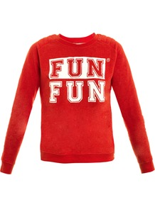 Fun Fun Sweatshirt - style: sweat top; predominant colour: true red; secondary colour: true red; occasions: casual; length: standard; fibres: cotton - mix; fit: straight cut; neckline: crew; shoulder detail: added shoulder detail; sleeve length: long sleeve; sleeve style: standard; pattern type: fabric; pattern size: big & light; pattern: patterned/print; texture group: other - light to midweight