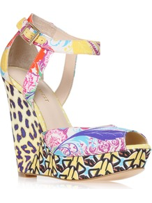 Kaiyra2 - occasions: casual, evening, occasion, holiday; predominant colour: multicoloured; material: fabric; heel height: high; ankle detail: ankle strap; heel: wedge; toe: open toe/peeptoe; style: strappy; trends: statement prints; finish: plain; pattern: patterned/print