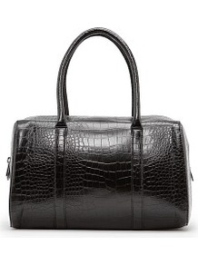 Faux Croc Bowling Bag - predominant colour: black; occasions: casual, evening, work; type of pattern: light; style: bowling; length: handle; size: standard; material: faux leather; pattern: animal print; finish: plain