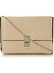 Braizen Metal Detail Structured Clutch Bag - predominant colour: nude; occasions: evening, work, occasion, holiday; type of pattern: light; style: clutch; length: hand carry; size: standard; material: leather; pattern: plain; finish: plain; embellishment: chain/metal