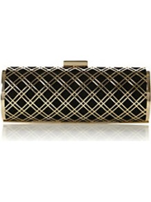 Bashment Metal Caged Clutch Bag - secondary colour: gold; predominant colour: black; occasions: evening, occasion; type of pattern: large; style: clutch; length: hand carry; size: standard; material: suede; pattern: plain; finish: plain; embellishment: chain/metal
