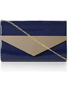 Brimes Metal Trim Clutch Bag - predominant colour: navy; secondary colour: taupe; occasions: evening, work, occasion, holiday; type of pattern: standard; style: clutch; length: hand carry; size: standard; material: faux leather; finish: patent; pattern: colourblock; embellishment: chain/metal