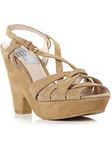 Helene Suede Cross Over Strap Demi Wedge Sandal - predominant colour: camel; occasions: casual, evening, holiday; material: suede; heel height: high; ankle detail: ankle strap; heel: wedge; toe: open toe/peeptoe; style: strappy; finish: plain; pattern: plain