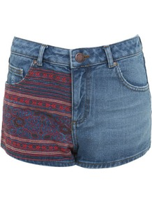 High Waist Embroidered Short - style: shorts; pocket detail: traditional 5 pocket; length: short shorts; waist: mid/regular rise; predominant colour: denim; occasions: casual; fibres: cotton - 100%; texture group: denim; fit: slim leg; pattern type: fabric; pattern size: standard; pattern: patterned/print; embellishment: embroidered