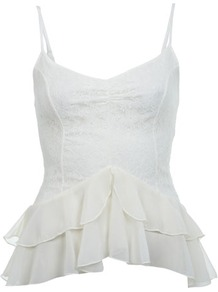Lace Ruffle Tier Cami Top - neckline: v-neck; sleeve style: spaghetti straps; pattern: plain; style: camisole; back detail: low cut/open back; predominant colour: white; occasions: casual, evening, holiday; length: standard; fibres: polyester/polyamide - 100%; fit: body skimming; waist detail: ruffles at waist; sleeve length: sleeveless; texture group: sheer fabrics/chiffon/organza etc.; trends: sculptural frills; pattern type: fabric; embellishment: lace