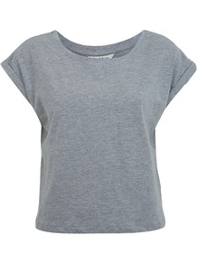 Roll Cuff Cropped Tee - neckline: round neck; sleeve style: capped; pattern: plain; length: cropped; style: t-shirt; predominant colour: mid grey; occasions: casual; fibres: cotton - mix; fit: straight cut; sleeve length: short sleeve; texture group: cotton feel fabrics; pattern type: fabric
