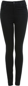 Black High Waisted Jean - style: skinny leg; length: standard; pattern: plain; waist: high rise; pocket detail: traditional 5 pocket; predominant colour: black; occasions: casual, evening; fibres: cotton - stretch; jeans & bottoms detail: turn ups; texture group: denim; pattern type: fabric