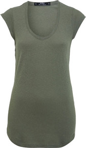 Petites Khaki Cap Sleeve Tee - neckline: low v-neck; sleeve style: capped; pattern: plain; length: below the bottom; style: t-shirt; predominant colour: khaki; occasions: casual; fibres: cotton - 100%; fit: body skimming; sleeve length: short sleeve; texture group: jersey - clingy; pattern type: fabric