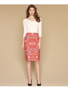 Sofra Printed Pencil Skirt - style: pencil; fit: tailored/fitted; waist: mid/regular rise; secondary colour: white; predominant colour: coral; occasions: work; length: on the knee; texture group: linen; trends: statement prints; pattern type: fabric; pattern size: standard; pattern: patterned/print; fibres: viscose/rayon - mix