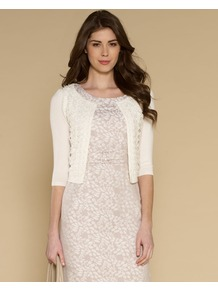 Roberta Lace Front Edge To Edge Cardigan - pattern: plain; length: cropped; neckline: collarless open; style: open front; predominant colour: ivory; occasions: casual, evening, work, occasion, holiday; fit: slim fit; bust detail: contrast pattern/fabric/detail at bust; sleeve length: 3/4 length; sleeve style: standard; texture group: knits/crochet; pattern type: knitted - fine stitch; fibres: viscose/rayon - mix; embellishment: lace