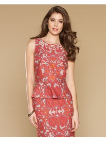 Sofra Print Peplum Top - neckline: round neck; sleeve style: sleeveless; bust detail: added detail/embellishment at bust; waist detail: peplum waist detail; secondary colour: white; predominant colour: coral; occasions: evening, work; length: standard; style: top; fit: tailored/fitted; sleeve length: sleeveless; texture group: linen; trends: statement prints; pattern type: fabric; pattern size: big & busy; pattern: patterned/print; embellishment: embroidered; fibres: viscose/rayon - mix