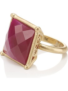 Nique Ring - predominant colour: pink; secondary colour: gold; occasions: casual, evening, occasion; style: cocktail; size: large/oversized; material: chain/metal; finish: plain; embellishment: jewels