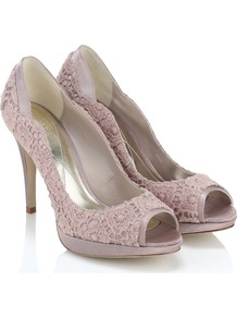 Florentina Peeptoe - predominant colour: nude; occasions: evening, work, occasion; material: fabric; heel height: high; heel: standard; toe: open toe/peeptoe; style: courts; finish: plain; pattern: plain; embellishment: lace