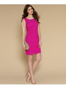 Winnie Pleated Chiffon Dress - style: shift; length: mid thigh; neckline: round neck; fit: tailored/fitted; pattern: plain; sleeve style: sleeveless; predominant colour: hot pink; occasions: evening, occasion; fibres: silk - 100%; sleeve length: sleeveless; texture group: sheer fabrics/chiffon/organza etc.; pattern type: fabric
