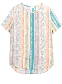 Riley Tee In Rainbow Multi - neckline: round neck; length: below the bottom; style: t-shirt; secondary colour: stone; occasions: casual, holiday; fibres: silk - 100%; fit: straight cut; predominant colour: multicoloured; sleeve length: short sleeve; sleeve style: standard; texture group: silky - light; trends: statement prints; pattern type: fabric; pattern size: standard; pattern: patterned/print