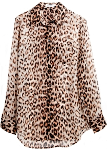 Reese Shirt In Natural Leopard - neckline: shirt collar/peter pan/zip with opening; length: below the bottom; style: shirt; secondary colour: ivory; predominant colour: chocolate brown; occasions: casual, evening, work; fibres: silk - 100%; fit: loose; sleeve length: long sleeve; sleeve style: standard; texture group: sheer fabrics/chiffon/organza etc.; trends: statement prints; pattern type: fabric; pattern size: small &amp; busy; pattern: animal print