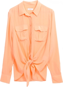Dylan Tie Front Shirt In Peach Nectar - neckline: shirt collar/peter pan/zip with opening; pattern: plain; style: shirt; bust detail: pocket detail at bust; waist detail: belted waist/tie at waist/drawstring; predominant colour: coral; occasions: casual, work; length: standard; fibres: silk - 100%; fit: loose; sleeve length: long sleeve; sleeve style: standard; texture group: silky - light; pattern type: fabric