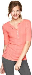 Variegated Ribbed Top - neckline: round neck; pattern: plain; bust detail: buttons at bust (in middle at breastbone)/zip detail at bust; predominant colour: pink; occasions: casual; length: standard; style: top; fibres: cotton - mix; fit: body skimming; sleeve length: half sleeve; sleeve style: standard; texture group: jersey - clingy; pattern type: fabric