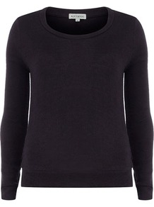 Navy Contrast Patch Jumper - pattern: plain; style: standard; predominant colour: navy; occasions: casual; length: standard; fibres: acrylic - mix; fit: standard fit; neckline: crew; sleeve length: long sleeve; sleeve style: standard; texture group: knits/crochet