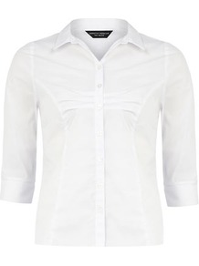 White Shirt - neckline: shirt collar/peter pan/zip with opening; pattern: plain; style: shirt; bust detail: ruching/gathering/draping/layers/pintuck pleats at bust; predominant colour: white; occasions: casual, work; length: standard; fibres: polyester/polyamide - 100%; fit: tailored/fitted; sleeve length: 3/4 length; sleeve style: standard; pattern type: fabric; texture group: other - light to midweight