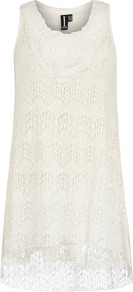 Cream Floral Tunic Dress - style: tunic; length: mid thigh; neckline: round neck; sleeve style: sleeveless; predominant colour: ivory; occasions: casual, evening, holiday; fit: soft a-line; fibres: polyester/polyamide - stretch; sleeve length: sleeveless; texture group: lace; pattern type: fabric; embellishment: lace