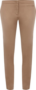 Taupe Gold Button Skinny - pattern: plain; waist: mid/regular rise; predominant colour: gold; occasions: casual, evening; length: ankle length; fibres: cotton - stretch; fit: skinny/tight leg; pattern type: fabric; texture group: other - clingy; style: standard