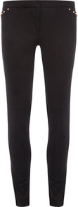 Black Gold Stud Pocket Skinny Trousers - length: standard; pattern: plain; waist: mid/regular rise; predominant colour: black; occasions: casual; fibres: cotton - stretch; fit: skinny/tight leg; pattern type: fabric; texture group: other - stretchy; style: standard; embellishment: studs
