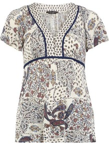 Paisley Mix Jersey Gypsy Top - neckline: v-neck; pattern: paisley; bust detail: buttons at bust (in middle at breastbone)/zip detail at bust; predominant colour: white; occasions: casual, work, holiday; length: standard; style: top; fibres: polyester/polyamide - 100%; fit: empire; sleeve length: short sleeve; sleeve style: standard; pattern type: fabric; pattern size: standard; texture group: jersey - stretchy/drapey