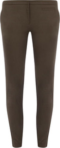 Khaki Gold Button Skinny - pattern: plain; waist: mid/regular rise; predominant colour: khaki; occasions: casual, evening; length: ankle length; fibres: cotton - stretch; texture group: structured shiny - satin/tafetta/silk etc.; fit: skinny/tight leg; pattern type: fabric; style: standard