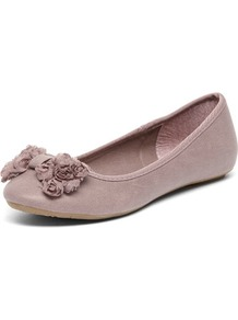 Lilac Rose Bud Bow Ballerinas - predominant colour: lilac; occasions: casual; material: faux leather; heel height: flat; toe: round toe; style: ballerinas / pumps; finish: plain; pattern: plain; embellishment: bow