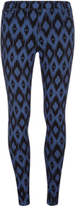 Blue Aztec Print Jegging - length: standard; style: leggings; waist detail: elasticated waist; waist: mid/regular rise; predominant colour: indigo; secondary colour: black; occasions: casual; fibres: cotton - stretch; texture group: denim; trends: modern geometrics; fit: skinny/tight leg; pattern type: fabric; pattern size: standard; pattern: patterned/print