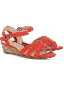 Red Knot Strap Wedge Sandals - predominant colour: bright orange; occasions: casual, holiday; material: fabric; heel height: mid; ankle detail: ankle strap; heel: wedge; toe: open toe/peeptoe; style: strappy; finish: plain; pattern: plain