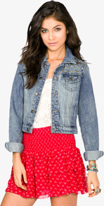 Studded Denim Jacket - pattern: plain; length: cropped; style: denim; predominant colour: denim; occasions: casual; fit: straight cut (boxy); fibres: cotton - 100%; collar: shirt collar/peter pan/zip with opening; sleeve length: long sleeve; sleeve style: standard; texture group: denim; collar break: high; pattern type: fabric