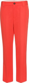Tailored Trousers - pattern: plain; waist: mid/regular rise; predominant colour: true red; occasions: casual, evening, work; length: ankle length; fibres: polyester/polyamide - 100%; fit: straight leg; pattern type: fabric; texture group: woven light midweight; style: standard