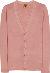 Geoff Cardigan - neckline: low v-neck; pattern: plain; occasions: casual, work; length: standard; style: standard; fibres: silk - mix; fit: slim fit; sleeve length: long sleeve; sleeve style: standard; texture group: knits/crochet; pattern type: knitted - fine stitch; predominant colour: dusky pink
