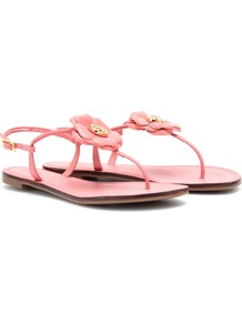 Shelby Leather Thong Sandals - predominant colour: pink; occasions: casual, holiday; material: leather; heel height: flat; ankle detail: ankle strap; heel: standard; toe: toe thongs; style: flip flops / toe post; finish: plain; pattern: plain; embellishment: corsage