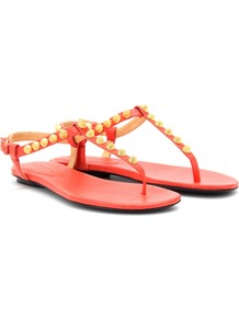 Giant Studded Leather Sandals - predominant colour: coral; secondary colour: gold; occasions: casual, evening, holiday; material: leather; heel height: flat; embellishment: studs; ankle detail: ankle strap; heel: standard; toe: toe thongs; style: flip flops / toe post; finish: plain; pattern: plain