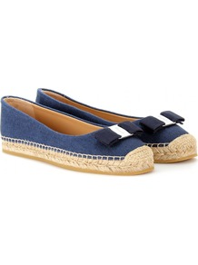 Blake Espadrille Ballerinas - predominant colour: royal blue; occasions: casual, holiday; material: fabric; heel height: flat; toe: round toe; style: ballerinas / pumps; finish: plain; pattern: plain; embellishment: bow
