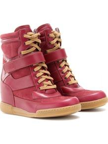 Kisha Hidden Wedge Sneakers - predominant colour: terracotta; occasions: casual; material: suede; heel height: mid; heel: wedge; toe: round toe; boot length: ankle boot; style: high top; finish: plain; pattern: plain