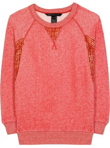 Win Loopback Terry Pullover - sleeve style: raglan; pattern: plain; style: standard; predominant colour: coral; occasions: casual; length: standard; fibres: cotton - mix; fit: slim fit; neckline: crew; sleeve length: 3/4 length; texture group: knits/crochet; pattern type: knitted - other