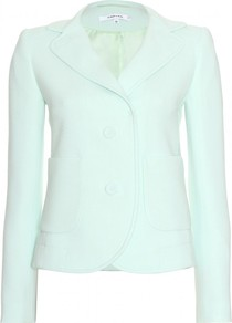 Tailored Jacket - pattern: plain; style: single breasted blazer; collar: standard lapel/rever collar; predominant colour: pistachio; occasions: casual, evening, occasion; length: standard; fit: tailored/fitted; sleeve length: long sleeve; sleeve style: standard; collar break: medium; pattern type: fabric; texture group: woven light midweight; fibres: viscose/rayon - mix