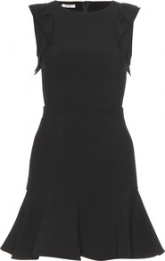 Crepe Dress With Structured Skirt - style: shift; length: mid thigh; pattern: plain; sleeve style: sleeveless; shoulder detail: tiers/frills/ruffles; hip detail: fitted at hip; predominant colour: black; occasions: evening, occasion; fit: fitted at waist & bust; neckline: crew; sleeve length: sleeveless; texture group: crepes; trends: glamorous day shifts; pattern type: fabric; fibres: viscose/rayon - mix
